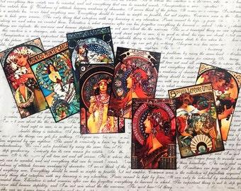 8 pcs. MINI MUCHA STICKERS — Small Alphonse Mucha Stickers, 1920s Art Nouveau Art Deco Stickers, Life Planner Stickers, Craft Supply