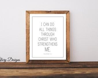 Printable, Bible Verse, Scripture art, Philippians 4:13, I can do all things through Christ printable, Digital Printable File 300 dpi