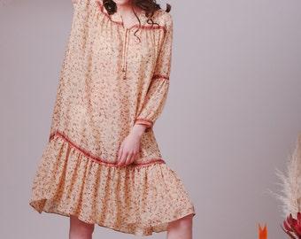 Bohemian Indian Silk dress,Boho dress,Bohemian bridesmaid dress,Hippie dress,Gypsy dress,Flowy dress,Hippie dress,Boho clothes,Silk dress