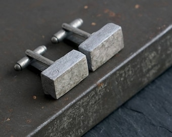 1st Anniversary gift for husband. Minimalist recycled paper cuff links. Handmade grey & silver cufflinks.