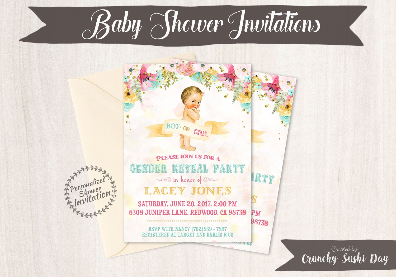 Vintage Gender Reveal Baby Shower Invitations, Baby Shower Card ...
