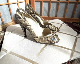 Vintage 60s Snake Skin Peep Toe Shoes with Heel Cut Outs by Norman Kaplan of Las Vegas Lolita VLV
