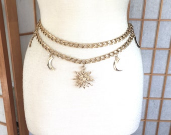 Vintage 80s Double Chain Belt with Dangling Flaming Sun and Moons
