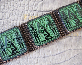 Egyptian Revival Style Czech Glass Panel Bracelet. Chunky Book Piece-Style. Egyptian Revival Art Deco Collectible Jewelry. Wide Bracelet
