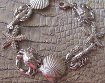 BEACH LIFE: Sterling Silver Seaside Chain Link Bracelet. Vintage Sign 925 Silver Crab, Starfish, Lobster & Seashell Link 925 Silver Bracelet