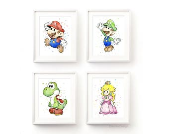 Mario Art Prints Nintendo Wall Art Mario Home Decor Geek Art Gaming Fan Art Prints Watercolor Painting Mario Yoshi Luigi Princess - Set of 4