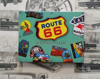 ROUTE 66 STICKERS, Vintage Travel Stickers, Vintage American Stickers, American Road Stickers, America Stickers, Classic Car Stickers