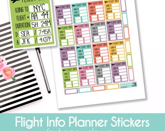 Flight Info Planner Stickers  - Set of 14 stickers for MAMBI Happy Planners or Erin Condren Life Planner