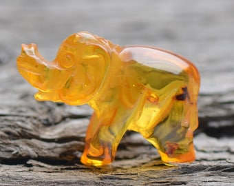 Handmade Amber Carving - Exclusive Amber Elephant - Genuine Baltic Amber