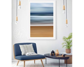 Abstract Seascape Art, 24x36 Photo Print, Martha's Vineyard Beach Photography Large Vertical Ocean Artwork Blue Coastal Print Sea Shore Sand