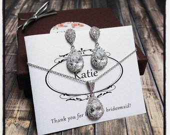 Bridesmaid Jewelry Set, Simple Bridal Jewelry Set, Bridesmaid Earrings Crystal, Bridesmaid Jewelry Crystal, Bridesmaid Gift, Bridal Jewelry