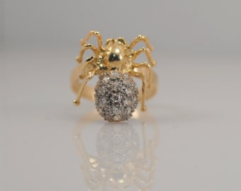 14k Yellow Gold Vintage Spider CZ Cubic Zirconia 3D 3 Dimensional Ring Halloween Insect Arachnid Unique Unusual