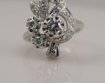 1 cttw Carat Transition Single Cut Diamond Bouquet Floral Ring 14k White Gold Engagement Unique Unusual