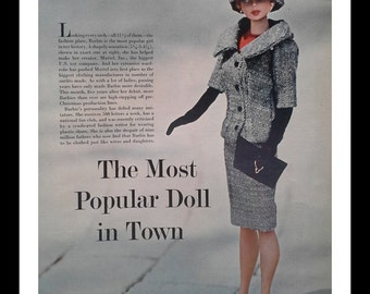 Barbies & fashion.  2 pages of Barbies from 1963.  A look at the clothing created in a spread of different Barbies' Clothing.  Post Modern