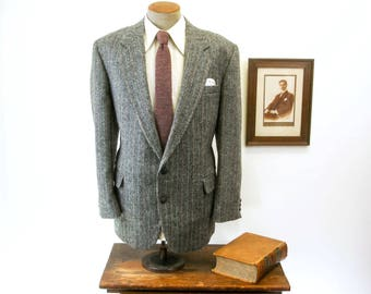Vintage TWEED Mens Suit Jacket Gray & Black Wool Blazer / Sport Coat with colorful stripes and elbow patches by Haggar - Size 46 (XL)