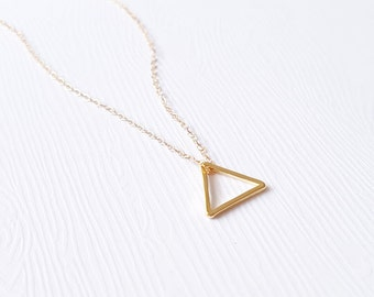 gold triangle - 14 karat gold filled, minimalist, dainty jewelry / gift under 25