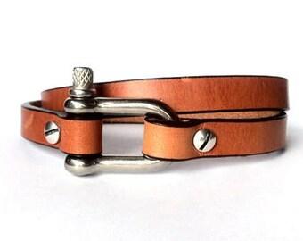 shackle clasp, Nautical wrap bracelet, mens  bracelet, mens jewelry,  bracelet for mens, Surfer bracelet, stainless steel, nautical bracelet