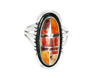 Oblong Inlay Spiny Oyster Ring