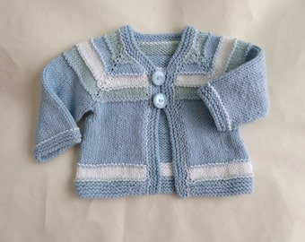 Hand knit cotton baby cardigan | newborn baby knit | pastel blue, green and white boy's striped sweater | baby handknit blue sweater