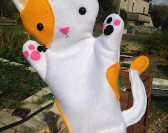 """Handmade Cat Felt Hand Puppet 28cm/11"""" tall ginger & white"""