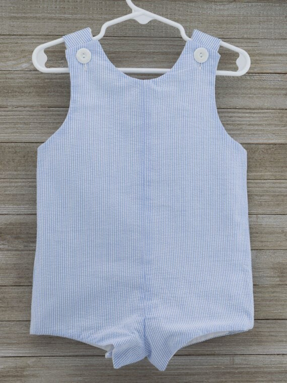 Custom made Blue Seersucker Romper. Perfect for Beach Photos, Easter Sunday or as an everyday outfit this Spring/Summer!