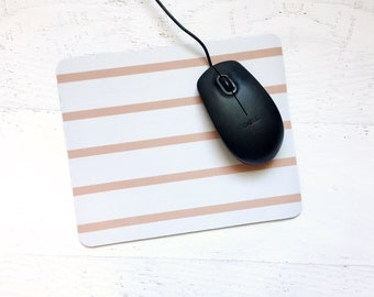 Skinny Stripe Mousepad in Grapefruit Pink - Bold, Modern, Graphic, Simple Design For the Home or Office - Pick Your Color