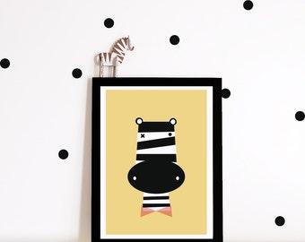Nursery art, Kids art print, nursery poster, kids poster, kids room poster, zebra art print, kids decor