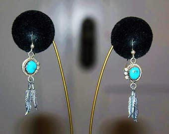 Vintage Sterling Silver Southwestern Turquoise Feather Lovely Artisan Earrings E17