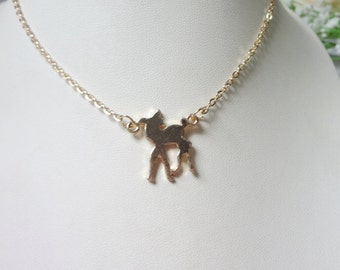 new brief paragraph alloy fawn pendant necklace