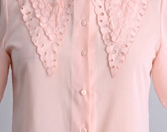 50s blouse/ Pink Vintage blouse/light pink perforated blouse/ babydoll blouse