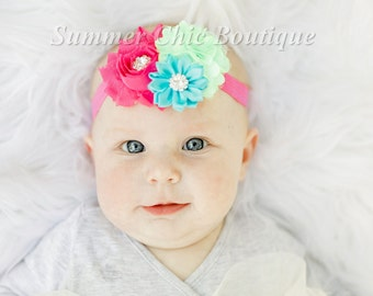 Baby Headband, Infant Headband, Newborn Headband - Birthday Headband, Bright Pink, Aqua, and Lime Green Headband