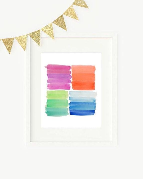 Rainbow Brushstrokes Playroom Wall Decor, 8x10 Watercolor Print
