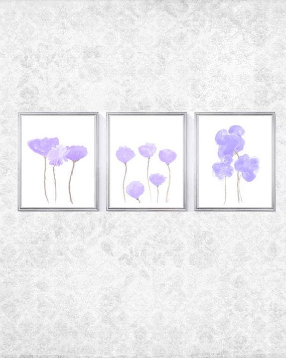Lavender Flower Prints for Nursery, Set of 3- 8x10