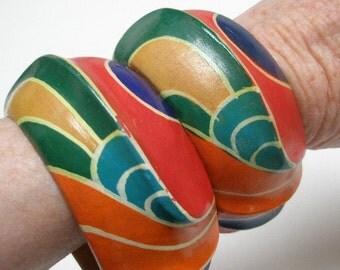 vintage 60s eva graham wood bracelets hand carved hand painted