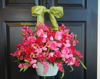 spring wreath summer wreaths for front door wreaths peony peonies summer wreath front door decor purple flowers & vases