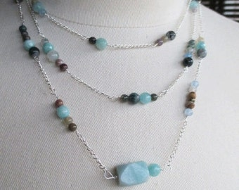 Amazonite Triplet Sterling Silver Necklace