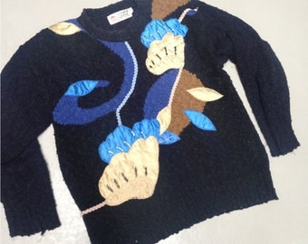 Vintage rad 80s 90s Knitted Jumper Sweater kitsch retro