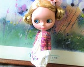 SALE Red variegated cardigan for blythe and similar size dolls