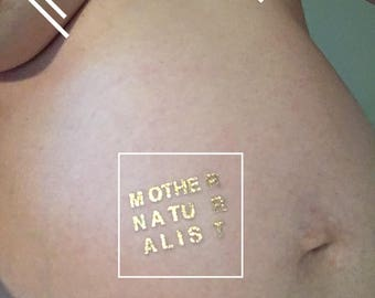 gold foil mother naturalist temporary tattoo