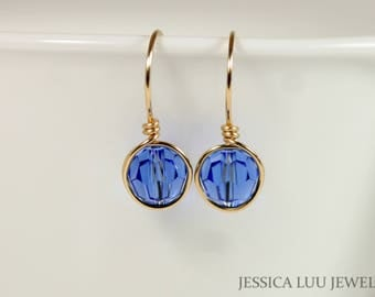 Gold Sapphire Earrings Wire Wrapped Jewelry Blue Swarovski Crystal Earrings Rose Gold Earrings Gold Jewelry Dangle Earrings Blue Jewelry