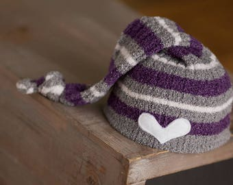 Newborn Girl Hat, Upcycled Newborn Hat, Purple and Gray Hat, Striped Hat, Newborn Photo Prop, Newborn Photography, Ready to Ship Hat, RTS