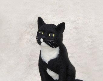 Needle Felted Cat, Custom Made Pet Sculpture, Custom Made Pet Portrait, Handmade Animal - made to order
