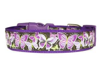 "Butterfly Dog Collar 1"" Purple Dog Collar or Matching Leash"