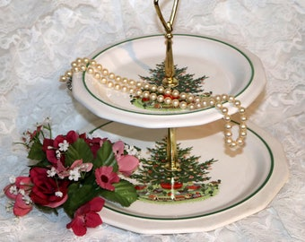 Pfaltzgraff Christmas Heritage ALL Original - 2 - Tier Tidbit Tray - Barely Used