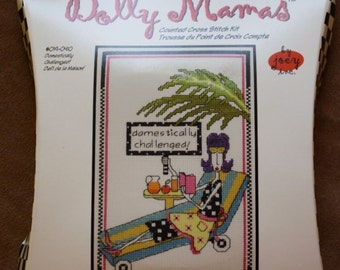 Dolly Mamas/Counted Cross Stitch Kit/Domestically Challenged/ NIP /Size 6-by 10 Inches/ Embroidery Kit /JannLyn