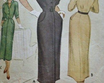 1940's Button Front Dress/ Vintage Sewing Pattern/ McCall 7860/ Bust 30
