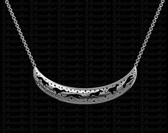 3D Greyhound crescent necklace - sterling silver