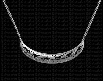 3D Italian Greyhound crescent necklace - sterling silver