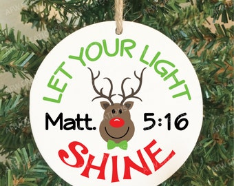 Matthew 5:16 Let Your Light Shine Christmas Ornament, Christian, Religious, Pastor, Minister, Priest Gift, Bible Study,