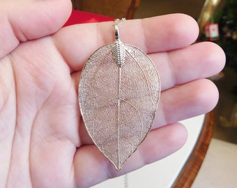 Delicate Silver Leaf Necklace , Autumn Necklace , Leaf Pendant , Fall Jewelry